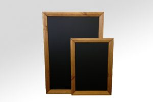 framed chalkboard oak stained