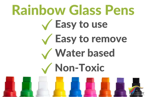 Rainbow glass pens write on glass temporarily safely