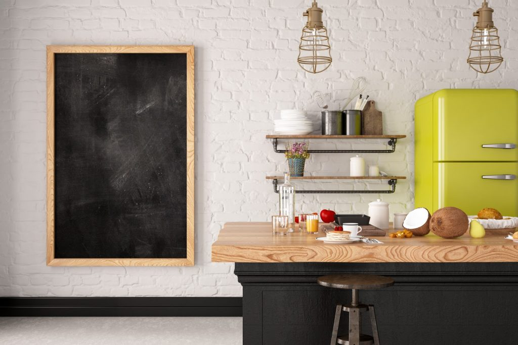 Loft wooden kitchen design with blank frame